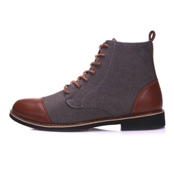 Men PU Leather Lace-up Shoes Contrasting Boots Grey 41