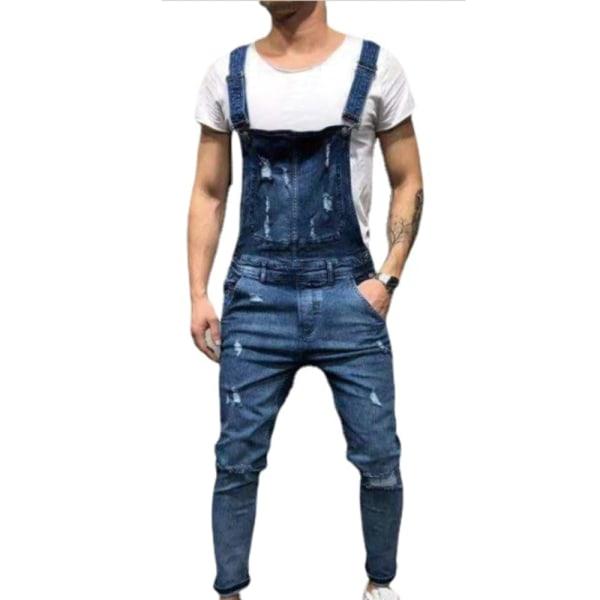 Mäns casual denimoveraller för män med justerbara remmar Deep blue L