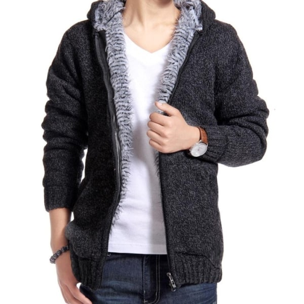 Men's Brushed Thickening Knit Cardigan light gray XL