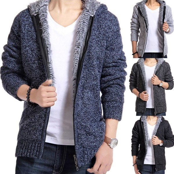 Men's Brushed Thickening Knit Cardigan blue 3XL