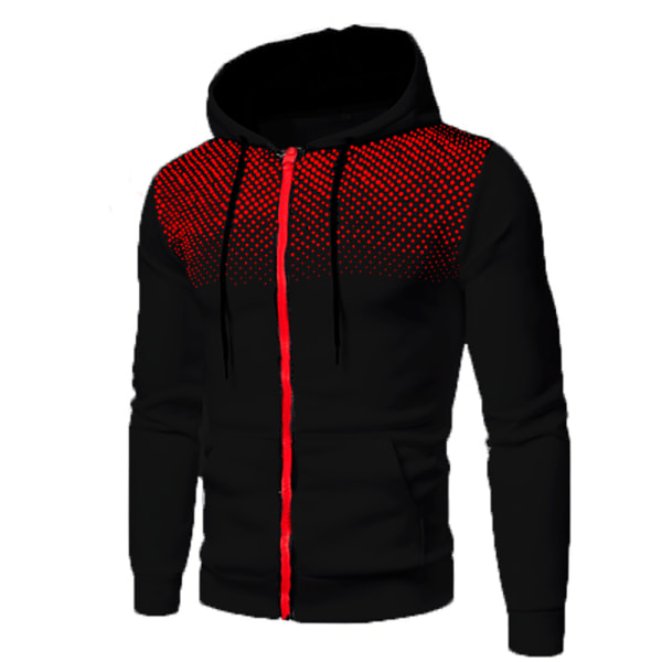 Men's Casual Cardigan Hooded Sweater Hoodie Black M