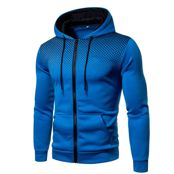 Men's Casual Cardigan Hooded Sweater Hoodie Blue L