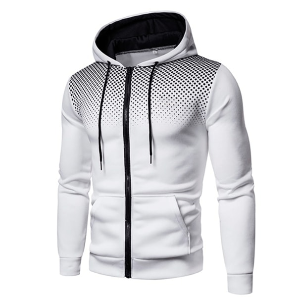 Men's Casual Cardigan Hooded Sweater Hoodie White 3XL