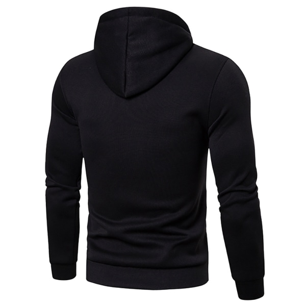 Men's Casual Hooded Pullover Sweater Black 3XL