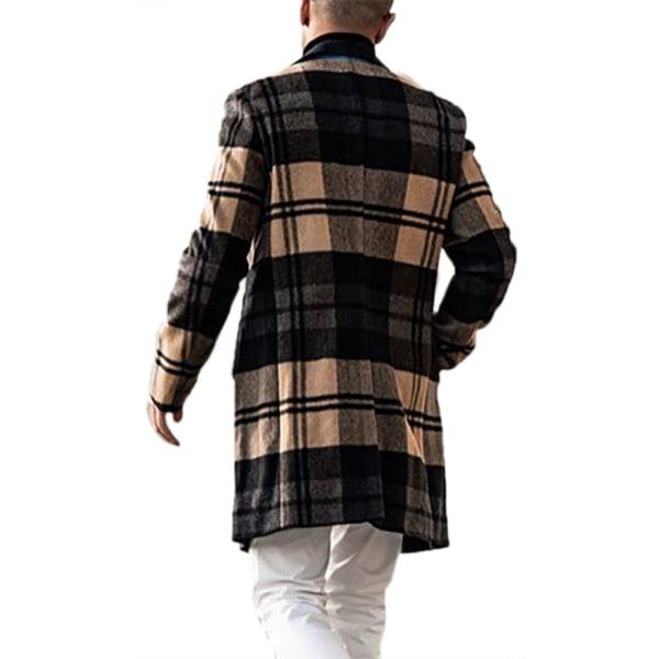 Herr Casual Long Wool Plaid Coat för män M