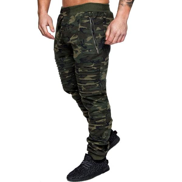 Men's Casual Zipper Pocket Camouflage Sports Pants Green 3XL