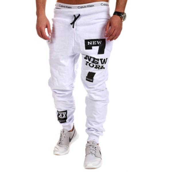 Men's Fashion Sports Pants Printed Loose Feet Bandage Elastic White L