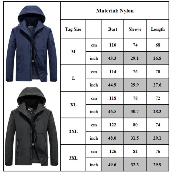 Men's Over Size Casual Outdoor Sportswear Jacket Blue M