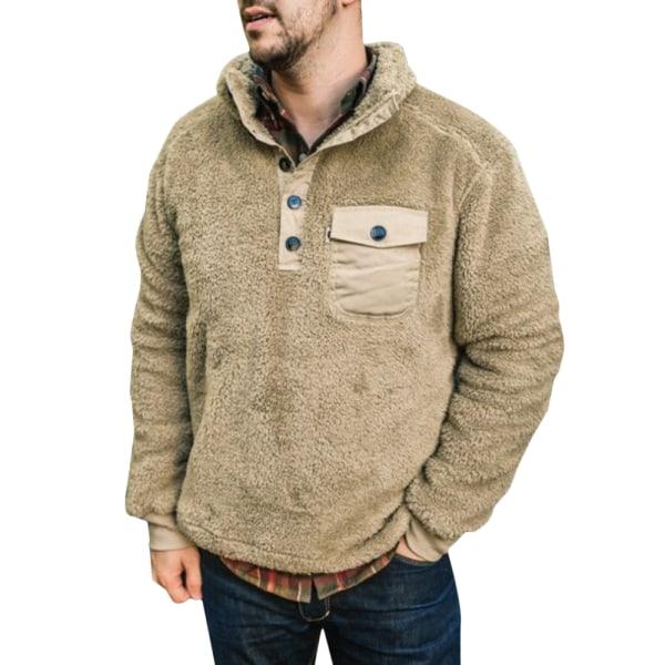 Men's Plush Pocket Button Long Sleeve Jacket Warn Hoodie Khaki M