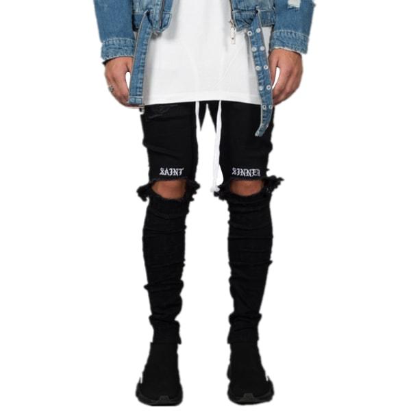 Herr Skinny Jeans Ripped Webbing Pants Andningsbar Komfortkläder Black XXXL