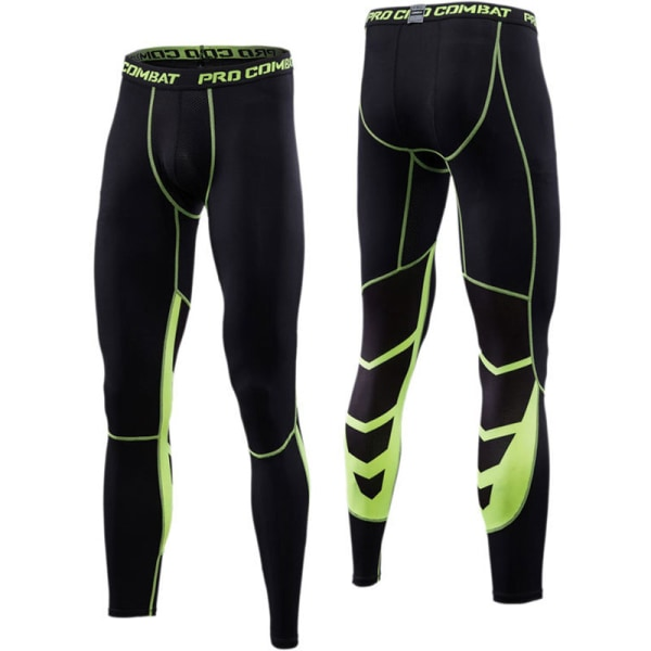 Men's Slim Sports Fitness Pants Outdoor Leisure Running Stylish Fluorescent green M