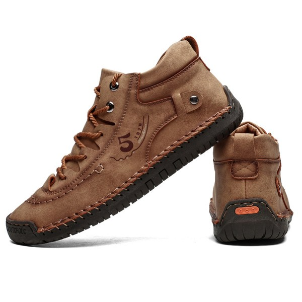 Men's Snow Boots Lace-up Leather Casual Plush Boots Gold 43