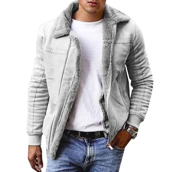 Enfärgad mantel för män varm tjocklek White L