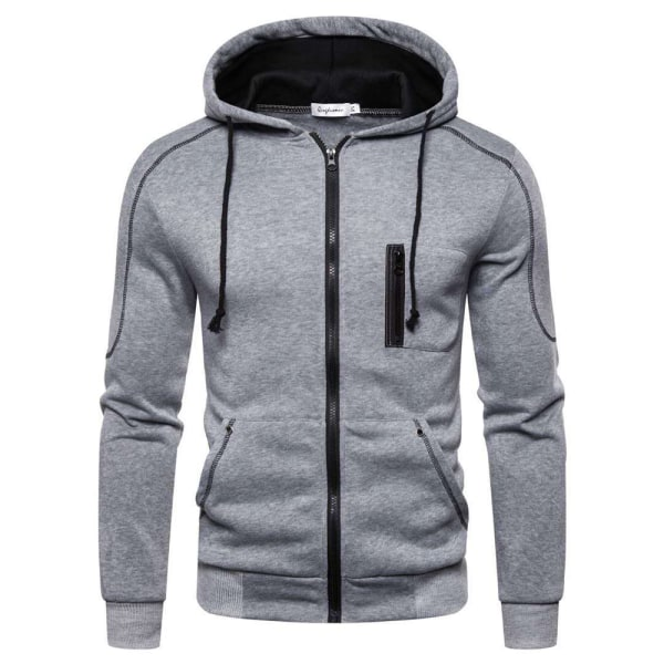 Men's Sports Cardigan Casual Hoodies Sweater Grey 3XL