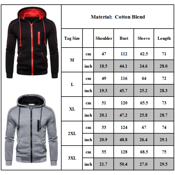 Men's Sports Cardigan Casual Hoodies Sweater Red L
