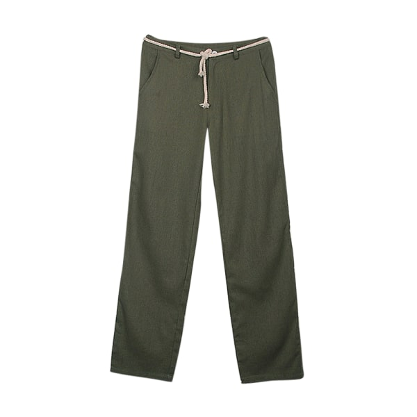 Men's Straight Wide Leg Pants Casual Drawstring Yoga Trousers Green M
