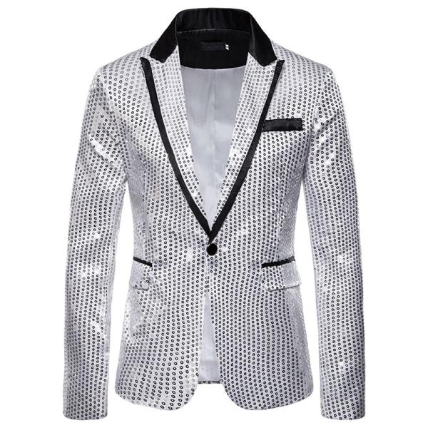 Men's Suit Sequined Show Dress Tuxedo Host Masquerade Party Silver 2XL