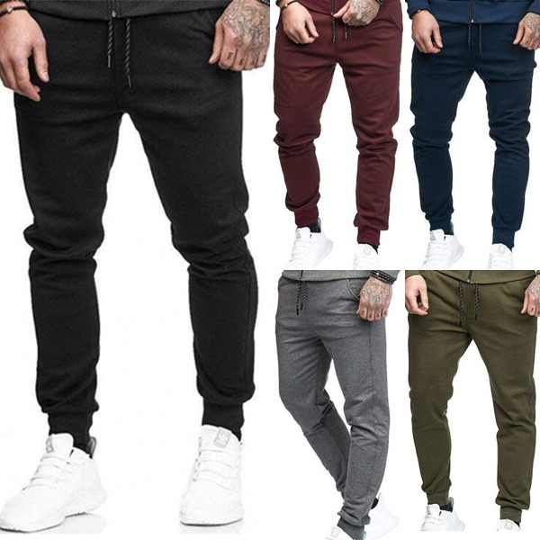 Men's Tight Sports Trousers Solid Color Straps All-matching Navy green XXL