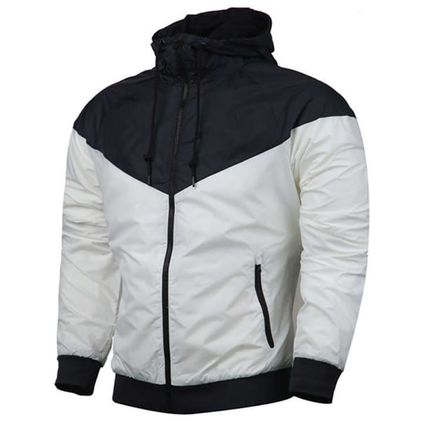 Men's Windproof Hooded Casual Jacket Coat Sports Top White 2XL