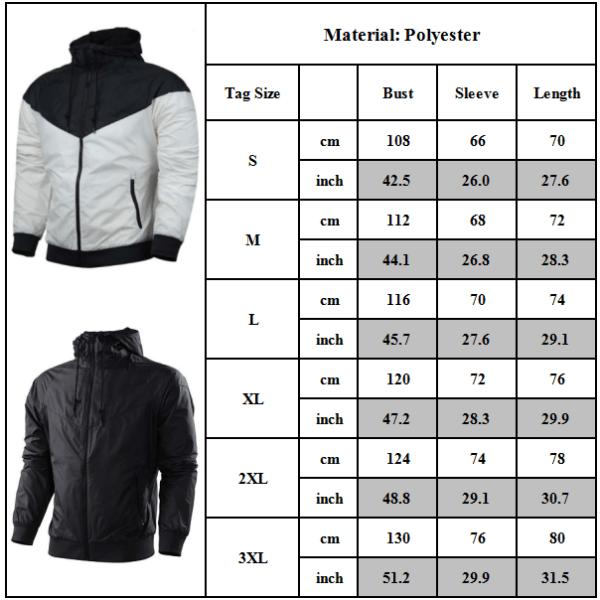 Men's Windproof Hooded Casual Jacket Coat Sports Top Black XL