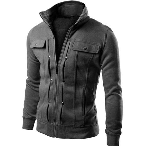 Men Zipper Stand Collar Jacket Coat Outdoors Thick Warm Winter Deep gray XL