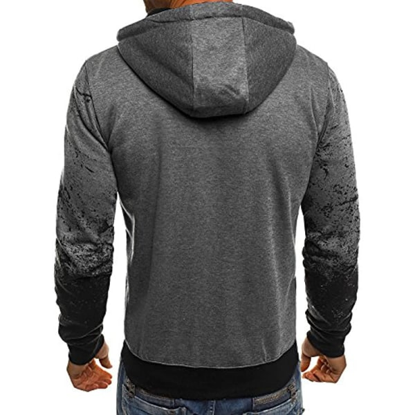 Mens Camo Floral Sport Hoodies Sweatshirt Long Sleeve Coat Dark Grey M