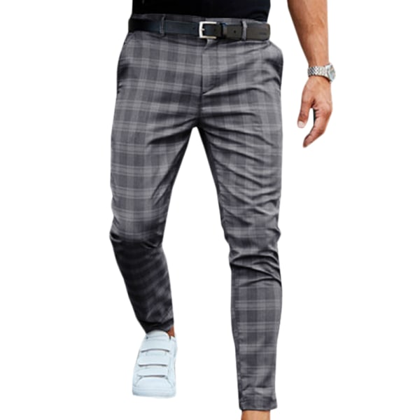 Mens Check Pants Fit Stretch Casual Formal Work Long Trousers Dark Grey S