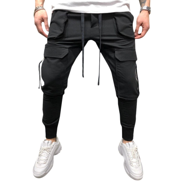 Mens Pants Drawstring Multi Pockets Cargo Trousers Black 3XL