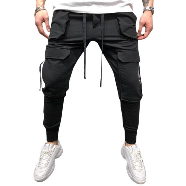 Mens Pants Drawstring Multi Pockets Cargo Trousers Black 2XL