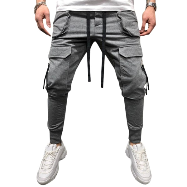 Mens Pants Drawstring Multi Pockets Cargo Trousers Gray XL