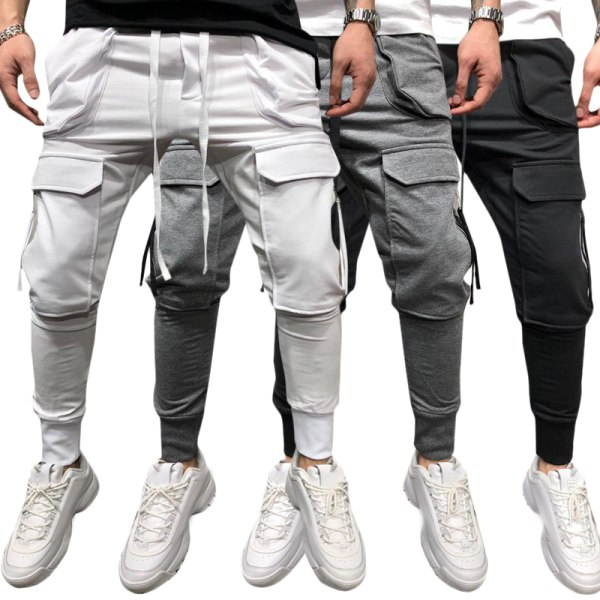 Mens Pants Drawstring Multi Pockets Cargo Trousers White M