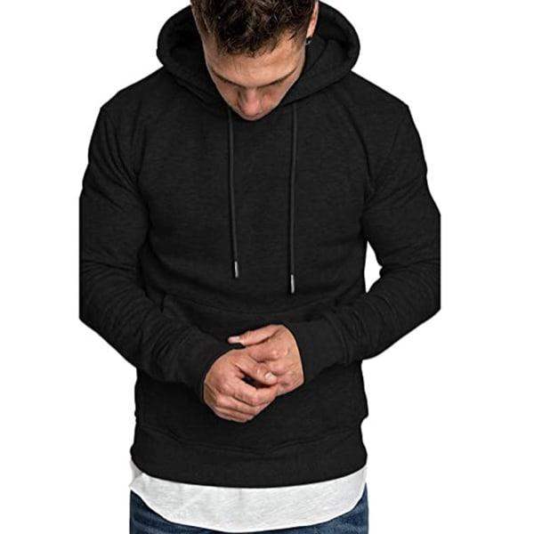 Mens Pullover Hoodie Plain Fleece Sweatshirt Hooded Casual Tops Black M