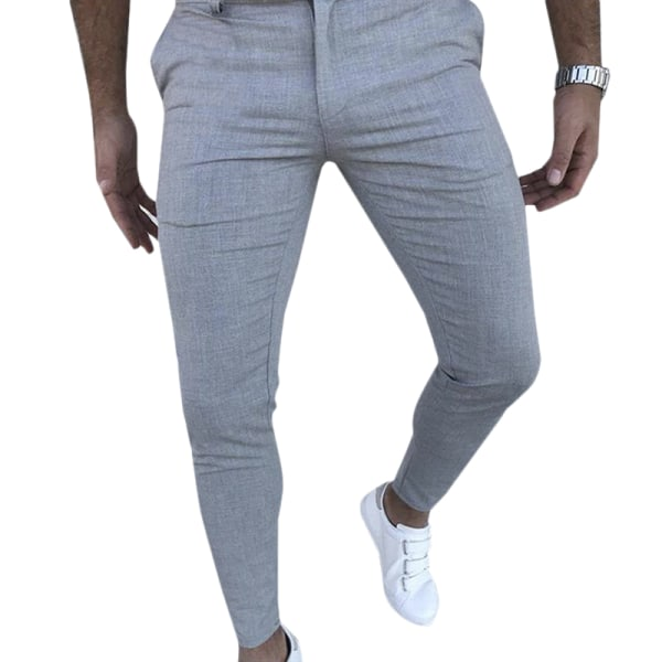 Mens Slimming Pants Cargo Stretch Trousers Black M