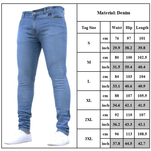 Mens tvättade jeans med rak ben Slim Fit Skinny Byxor Byxor Blue L