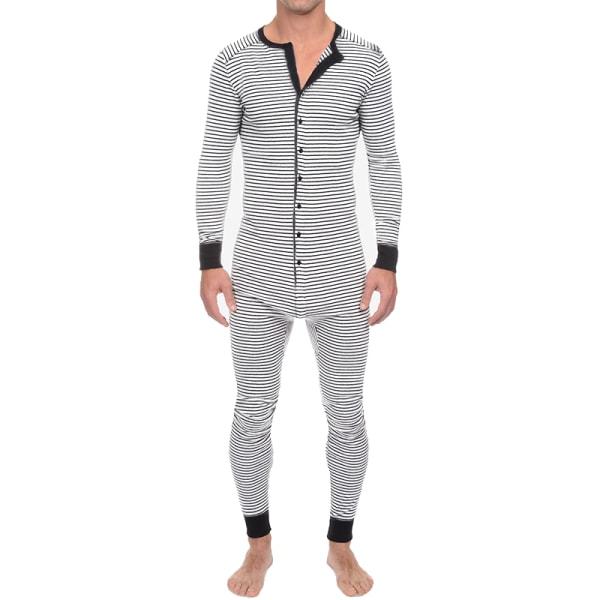 Mens randig långärmad jumpsuit pyjamas Romper Sleepwear