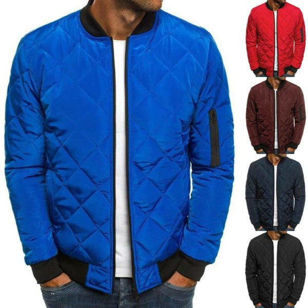 Mens Winter Warm Casual Zip Up Jacket Padded Quilted Puffer Royal Blue XL