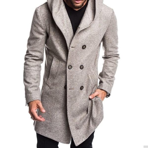 Mens vinter varm långärmad huva jacka rock casual överkläder