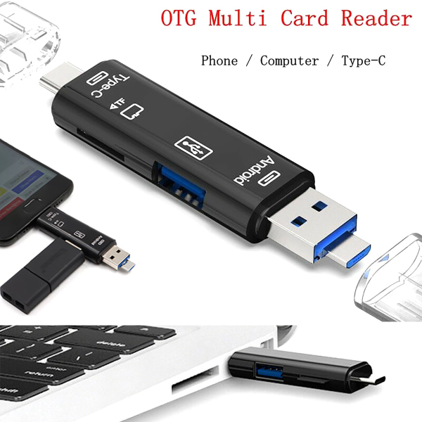 Micro SD USB TF OTG to USB 2.0 Adapter Card Reader Black