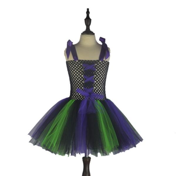 Party Cosplay Häxa Magisk Festklänning Axelbåge Flickor Gåvor Green+purple S