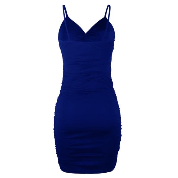 Party Low-cut Deep V Pleated Sling Bag Hip Dress för kvinnor Sexig Blue 2XL