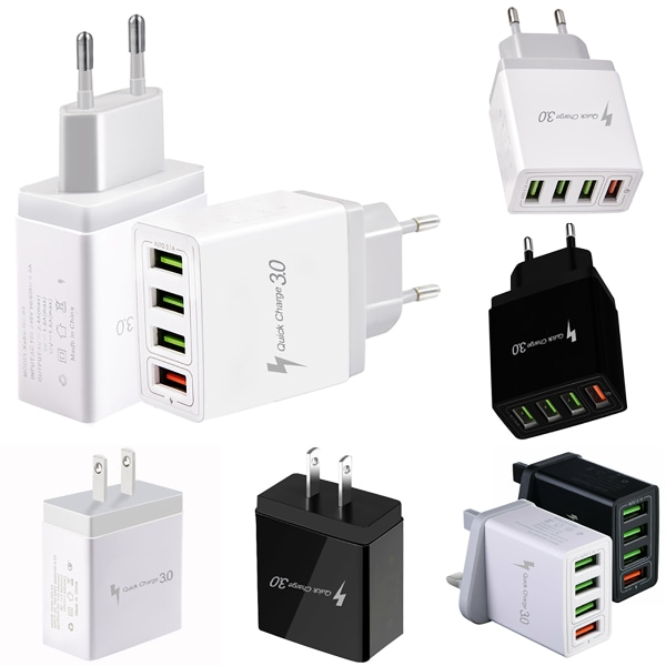 Quick Charger Plug Cube 4USB Phone Charger Black