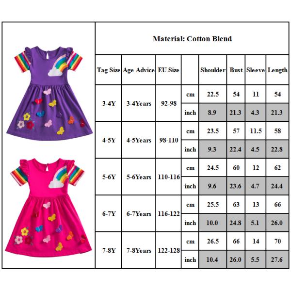 Rainbow Butterfly Girl Dress Slim kortärmad kort kjol Purple 4-5Y