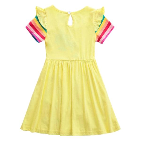 Rainbow Unicorn Girls Girls Kjolficka Söt sommarkjol Yellow 5-6Y