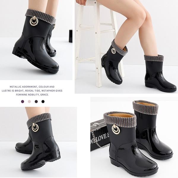 Women Waterproof Wellington Ankle Boots Wellies Rain Shoes Black 39