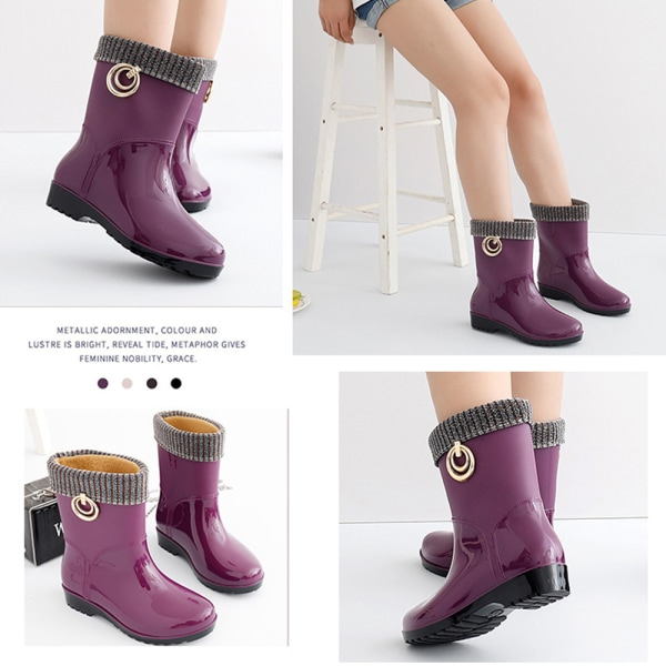 Women Waterproof Wellington Ankle Boots Wellies Rain Shoes Purple 40