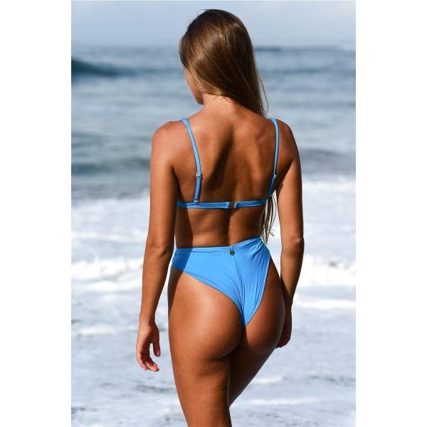 Sexig Beach Split Baddräkt Bikini Hög Midja Enfärgad Kvinnor Blue L