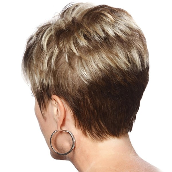 Kort naturlig våg mörkbrun guld syntetisk peruk brown