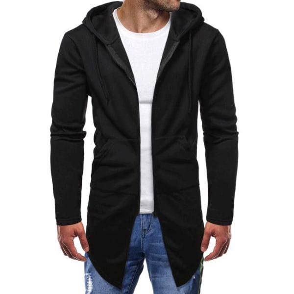 Solid Casual Cardigan Hoodies Sweater Black XL