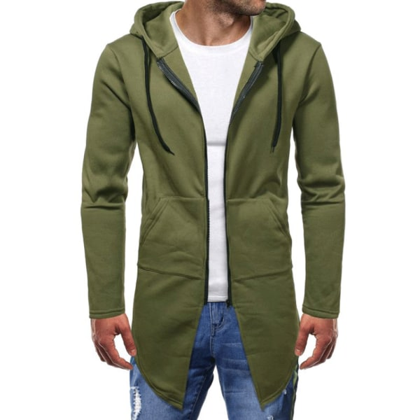Solid Casual Cardigan Hoodies Sweater Green L