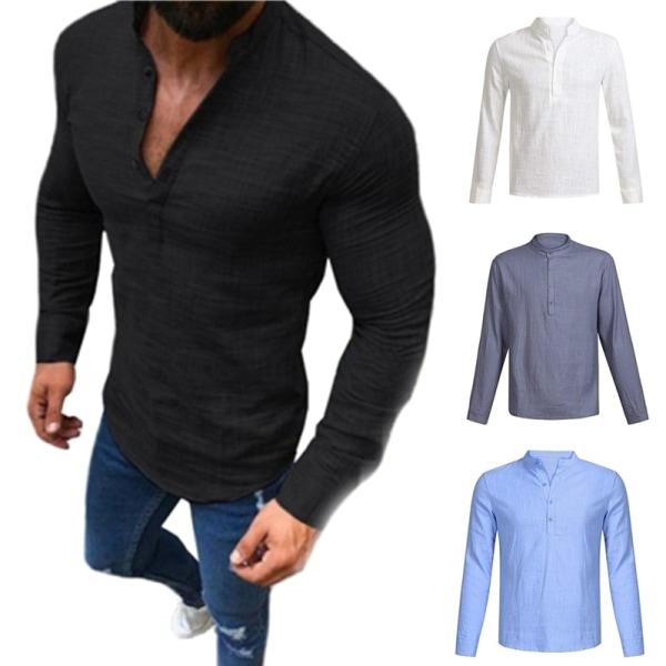 Enfärgad Långärmad Slim Top-skjortor white M